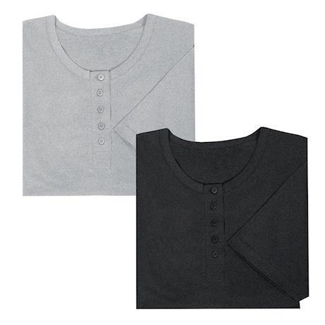 Women's Long Henley Nightshirts - Set of 2 Comfortable Pajama Sleep Shirts