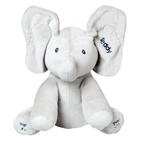 Gund Personalized Baby Flappy the Elephant Peek-a-Boo Animated Talking and Singing Plush Toy - Gray - 12""