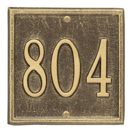 """Whitehall Personalized Cast Metal Address Plaque - Petite Square 6"""" x 6"""" House Number Sign - Allows Special Characters"""
