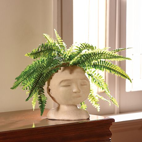 "Head of a Man Indoor/Outdoor Resin Planter - Plants Look Like Hair, 9"" Tall"