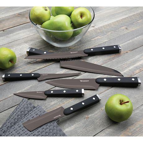 Hampton Forge Tomodachi 12 Piece Kitchen Knife Cutlery Set - Black Titanium Coated Blades with Protective Sheaths