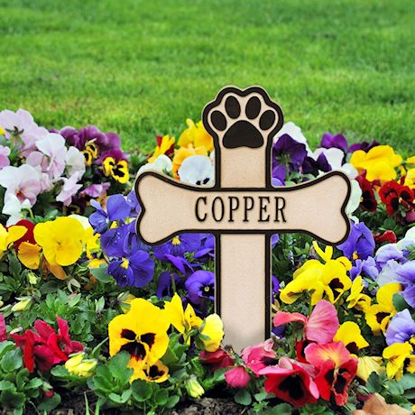 Whitehall Dog Paw and Bone Personalized Pet Memorial Cross Yard Sign - Remembrance Grave Marker and Garden Stake