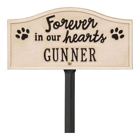 Whitehall Forever in Our Hearts Personalized Pet Memorial Yard Sign - Paw Print Remembrance Marker