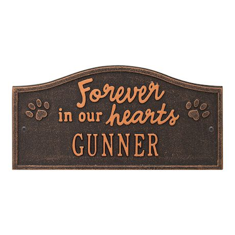 Whitehall Forever in Our Hearts Personalized Pet Wall or Ground Memorial Plaque - Paw Print Remembrance Marker/Sign