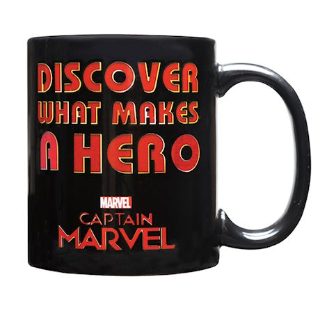 Classic Imports Captain Marvel Heat Changing Mug - Fill with Hot Water to Activate Image of Hero - 11 Oz.