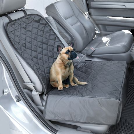 Pawriffic Convertible Dog Car Seat and Seat Cover - Pet Mat Protects Vehicle from Dirt, Mud, Water and Scratches - Black and Gray