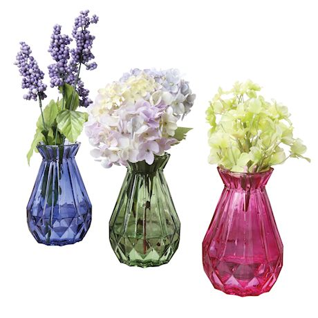 ART & ARTIFACT 3 Piece Mini Glass Bud Vase Set - Decorative Pink, Purple and Green Jewel Tone Flower Holders