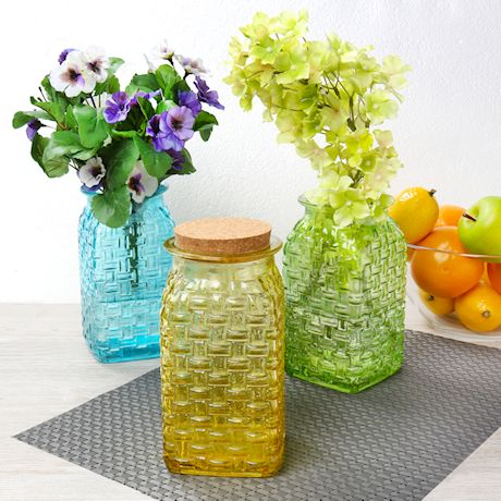 ART & ARTIFACT Set of 3 Glass Basketweave Vases - Decorative Yellow, Green and Blue Jars with Cork Stopper Lids - Storage Containers and Home Decor Accent