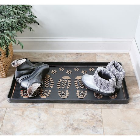 Art & Artifact Footprints and Paws Rubber Boot/Shoe Tray - Heavy Duty Footwear Mat Traps Mud, Water and Mess to Protect Floors