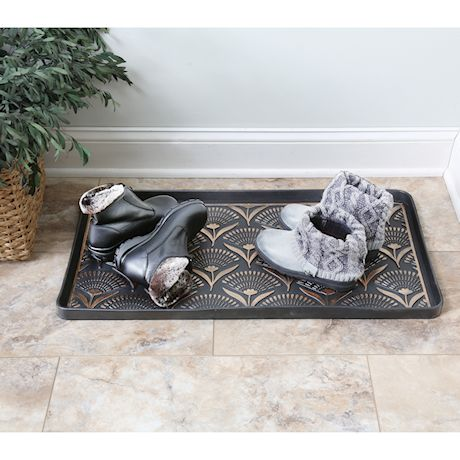 Art & Artifact - Floral Fans Rubber Boot/Shoe Tray - Heavy Duty Footwear Mat Traps Mud, Water and Mess to Protect Floors