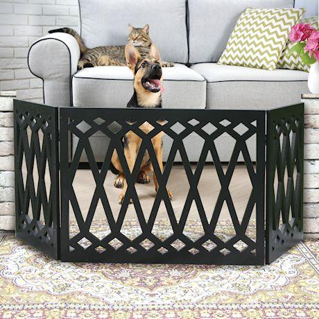 Etna 3-Panel Diamond Design Wood Pet Gate - Decorative Tri Fold Dog Fence - Black