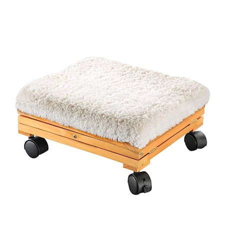 Etna Products Portable Sherpa Top Folding Foot Stool - Collapsible Cushioned Ottoman