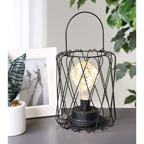 "Circleware Round Basket Lantern with LED Bulb - Cordless Black Metal and String Light Lamp - 8"" Tall"