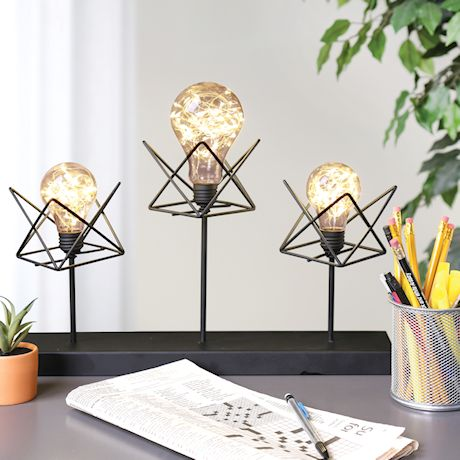 """Circleware 3 LED Bulb Desk and Table Lamp - Cordless Black Metal and String Light Accent Lighting - 12"""" Tall"""