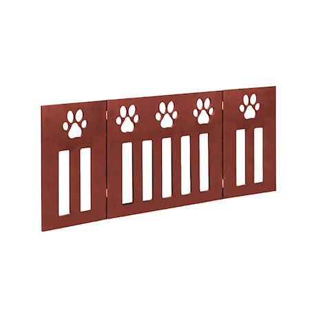 Etna 3-Panel Wood Pet Gate with Paw Print Cutout Design - Freestanding Tri Fold Dog Fence for Doorways, Stairs - Indoor/Outdoor Pet Barrier