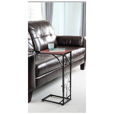Etna Adjustable Height Sofa Side End Table -Brown Wood Top, Black Metal Scroll Design - C-Shaped TV Tray Slides Up To Couch, Chair, Recliner
