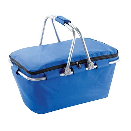 Etna Soft Insulated Picnic Basket Tote- Lightweight Collapsible Cooler Bag for Travel - Blue with Aluminum Frame and Handles