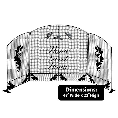 Etna 3-Panel Home Sweet Home Arched Metal Pet Gate - Freestanding Tri Fold Dog Fence for Doorways, Stairs - Indoor/Outdoor Pet Barrier