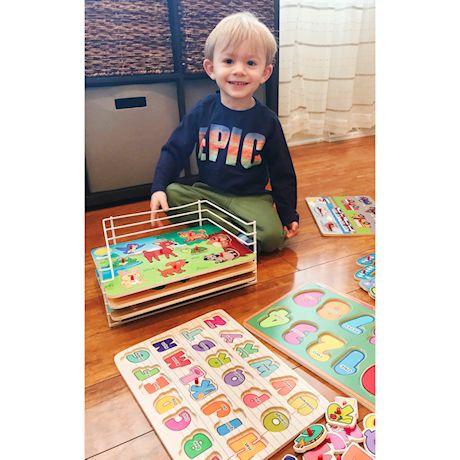 Puzzle Universe Wooden Peg Puzzle Set - 6 Pack Wood Puzzles with Wire Storage Rack Include ABC, 123, Animals, Vehicles, Food - Educational Toys for Kids 18 Months and Up
