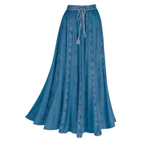 "Catalog Classics Women's Over-Dyed Maxi Skirt - Elastic Waistband 36"" Long - Denim Colored Rayon"