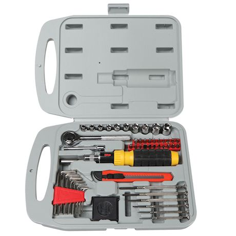 Don Mark Gifts 55 Piece Household Hand Tool Kit - Heavy Duty Portable Repair Set with Hard Gray Storage Case