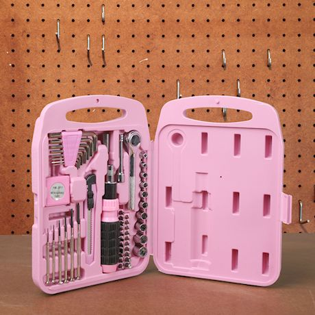 Don Mark Gifts Ladies 55 Piece Pink Household Hand Tool Kit - Heavy Duty Portable Repair Set with Hard Storage Case