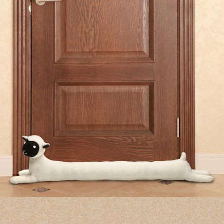 """WHAT ON EARTH Sheep Draft Dodger - Animal Shaped Weighted Door/Window Breeze and Bug Guard, Noise Reducer Draft Stopper - 36"""" Long"""