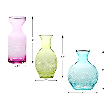 ART & ARTIFACT 3 Piece Small Decorative Glass Vase Set - Pink, Aqua Blue and Green Jewel Tone Flower Holders