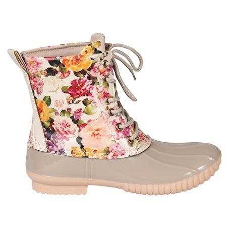 Avanti Women's Rosetta Rain Boots - Mid-Calf Floral Duck Boots - Cream Flowers