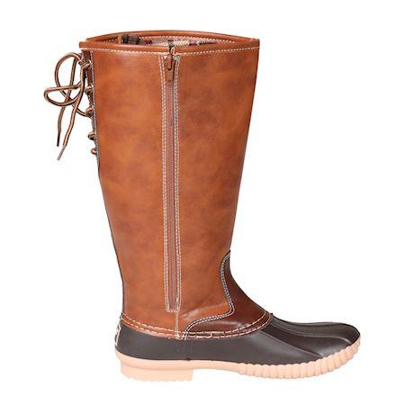 Avanti Women's Jennifer Rain Boots -Knee High Duck Boots-Brown, Tan Linen, Stone