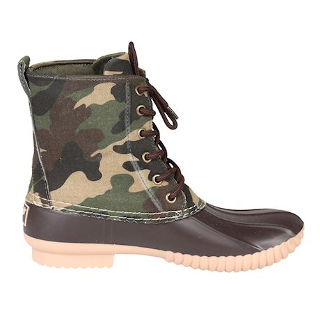 Avanti Women's Camo Rain Boots - Canvas Camouflage Duck Boots - Brown, Gray