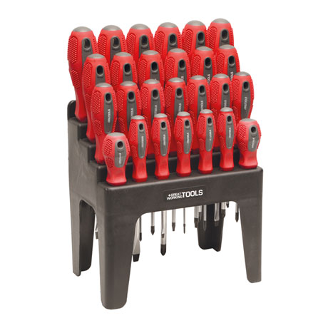 Great Working Tools 26 Piece Screwdriver Set - Magnetic Steel Tips Blades, Rack