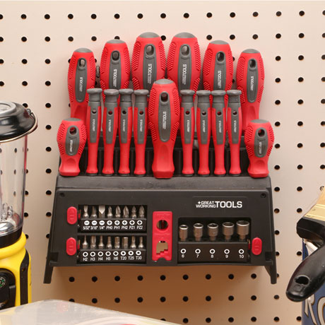 Great Working Tools 39 Piece Screwdriver Set - Magnetic Steel Tip Blades, Rack
