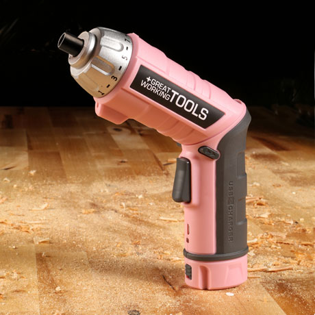 Great Working Tools 45 Piece Cordless Power Screwdriver Set - 3.6v Battery, Pink