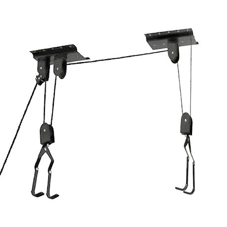 Great Working Tools Hanging Bike Hoist Ladder Lift, Set of 2 - Garage Ceiling Mount 55 lb Capacity Heavy Duty