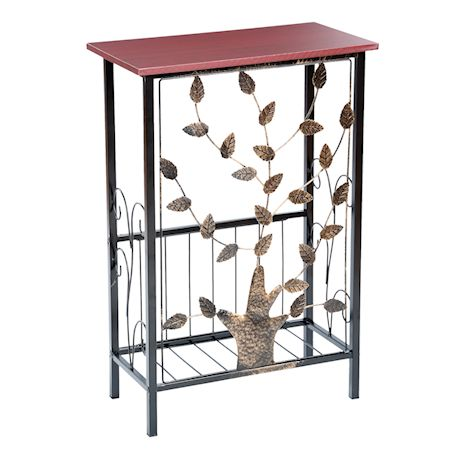 Etna Entryway Console Table with Magazine Holder - Metal Tree Design, Wood Top with Storage Bin for Entrance, Hallway, Bedroom, Bathroom