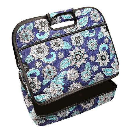 Two Lumps of Sugar Insulated Double Casserole Carrier Tote - Tuna Maria Hot Food Insulated Bag - Midnight Shadow, Blue Floral Print