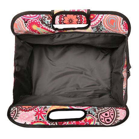 Two Lumps of Sugar Insulated Double Casserole Carrier Tote - Tuna Maria Hot Food Insulated Bag - Paisley Medallion Pink Print