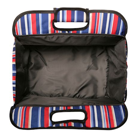 Two Lumps of Sugar Insulated Double Casserole Carrier Tote - Tuna Maria Hot Food Insulated Bag - Patriot Stripe Red, White & Blue