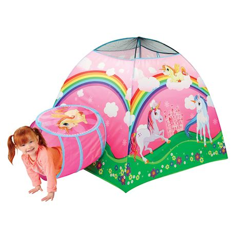 Etna Kids Unicorn Play Tent with Tunnel - Cute Indoor/Outdoor Fantasy Pop-Up Playhouse for Bedroom, Playroom, Yard, Camping