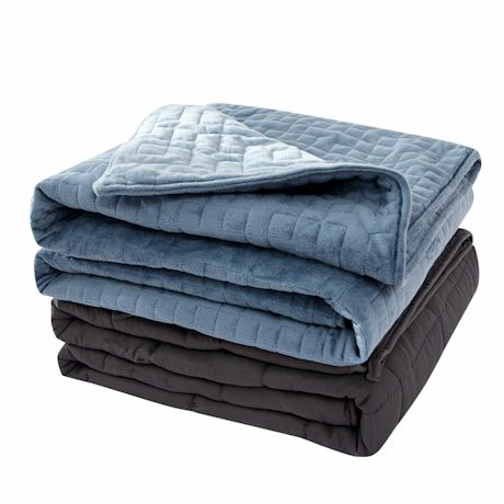 """Sutton Home Fashions Weighted Blanket Full/Twin Size 20Lbs with Washable Velvet Duvet Cover, Blue 48""""x72"""" Heavy Blanket"""