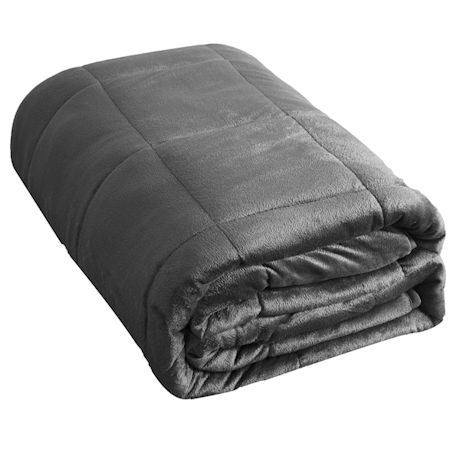 "Sutton Home Fashions Weighted Blanket Full/Twin Size 20 Lbs, Silver Grey Faux Mink - Adults 190-240 lbs 48""x72"" Blanket"