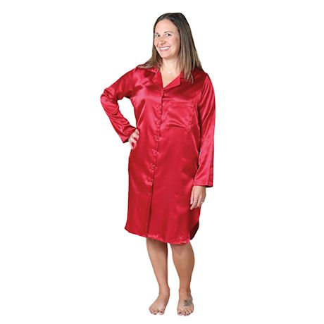 Metropolitan Women's Boyfriend Satin Nightshirt - Long Sleeve Pajama Sleepshirt