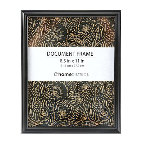 Home District 8 1/2?x11? Document Picture Frames Set 6 Pack, Easel Back Stand & Wall Mount Horizontal & Vertical, 6 Pieces, Black