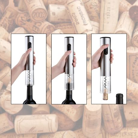 Home District Electric Wine Opener - Automatic Cordless Corkscrew and Foil Cutter - Battery Operated Cork Remover Wine Accessory Set