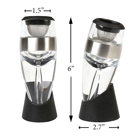 Home District Wine Aerator and Pourer - Unique Hand Held Red Wine Decanter Includes Filter, Rubber Display Base and Travel Bag