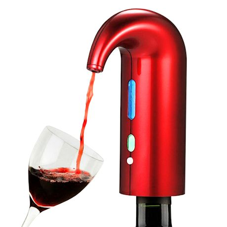 Home District Electric Wine Aerator - Portable Wine Pourer Decanter Pump with USB Charging Cable and Travel Storage Bag
