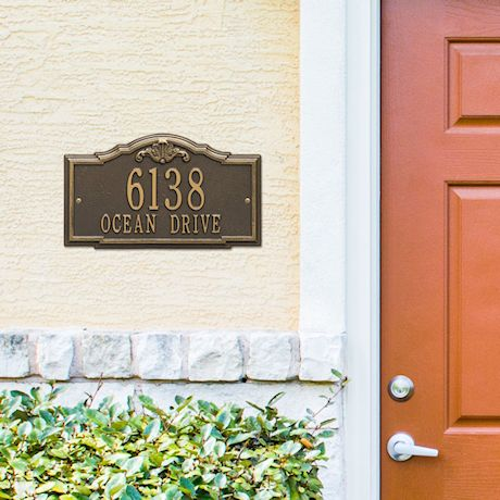 "Whitehall Personalized Address Plaque - Custom 2-Line Cast Aluminum Gatewood House Number Wall Sign (15.25""W x 10""H)"