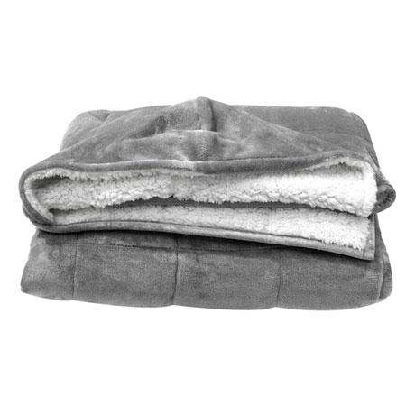 Weighted Sherpy Hoodie, 10 lb Blanket Sweatshirt Hooded Sherpa Fleece Lined, Gray
