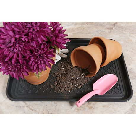 """Great Working Tools Boot Trays - Set of 2 Black All Weather Heavy Duty Shoe Trays, Dog Bowl or Cat Bowl Mats Trap Mud, Water and Pet Food Mess to Protect Floors - 23.75"""" x 15.5"""" x 1.25"""""""